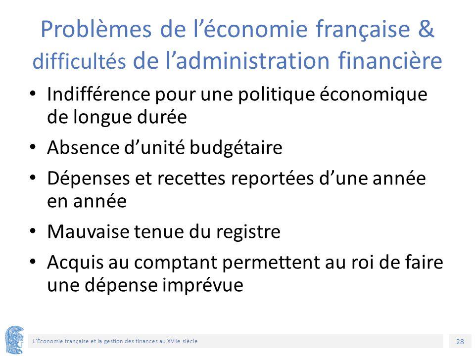 28 L'Économie française et la gestion des finances au XVIIe siècle Problèmes de l'économie française & difficultés de l'administration financière Indi
