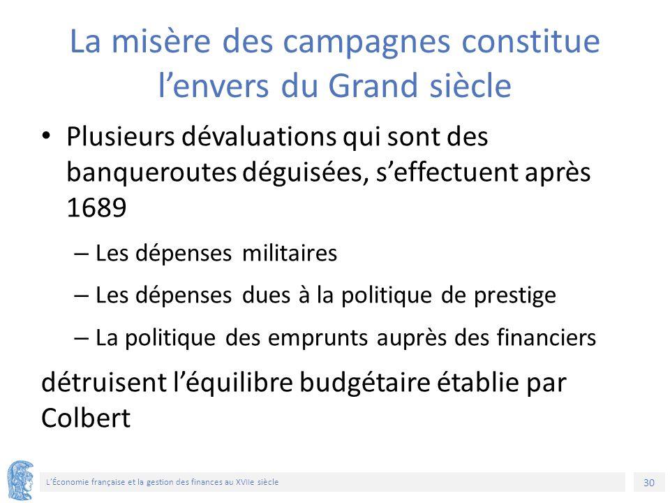 30 L'Économie française et la gestion des finances au XVIIe siècle La misère des campagnes constitue l'envers du Grand siècle Plusieurs dévaluations q