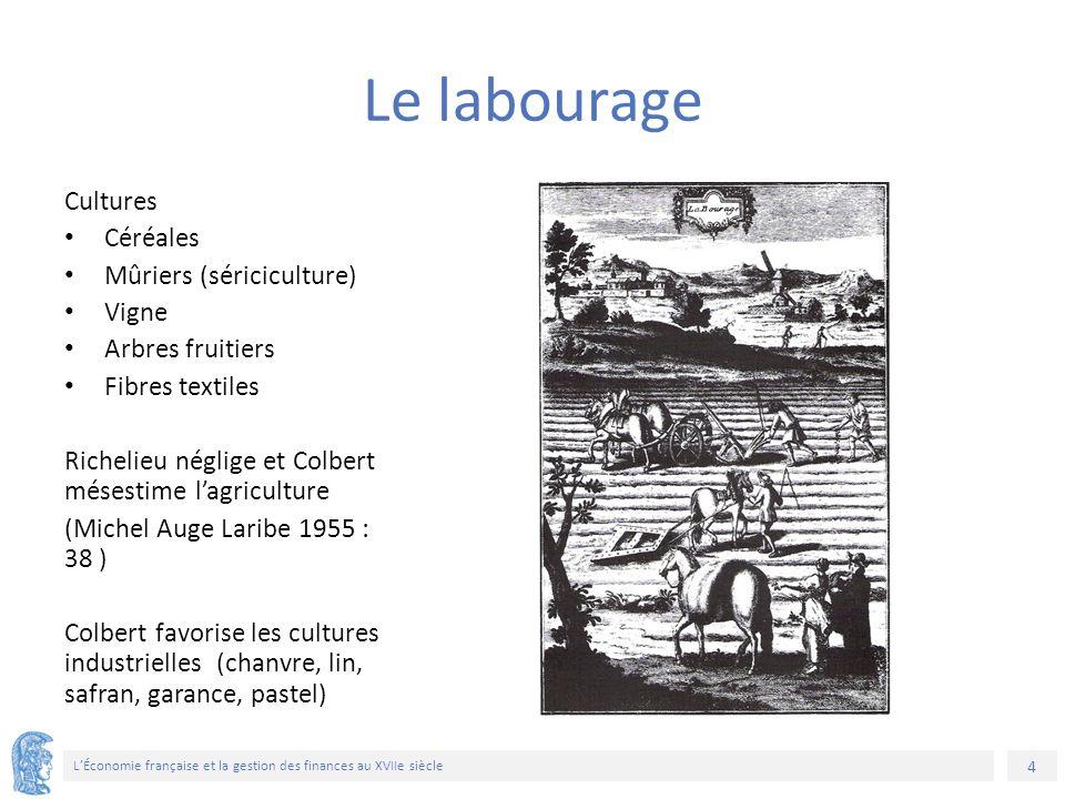 4 L'Économie française et la gestion des finances au XVIIe siècle Cultures Céréales Mûriers (sériciculture) Vigne Arbres fruitiers Fibres textiles Ric