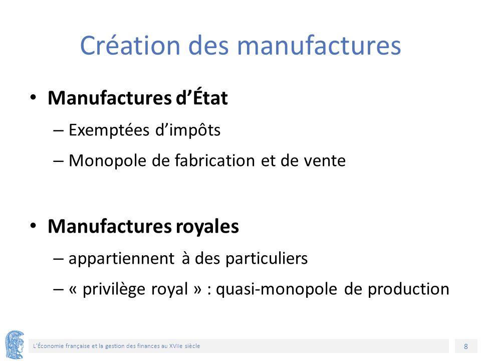 8 L'Économie française et la gestion des finances au XVIIe siècle Création des manufactures Manufactures d'État – Exemptées d'impôts – Monopole de fabrication et de vente Manufactures royales – appartiennent à des particuliers – « privilège royal » : quasi-monopole de production