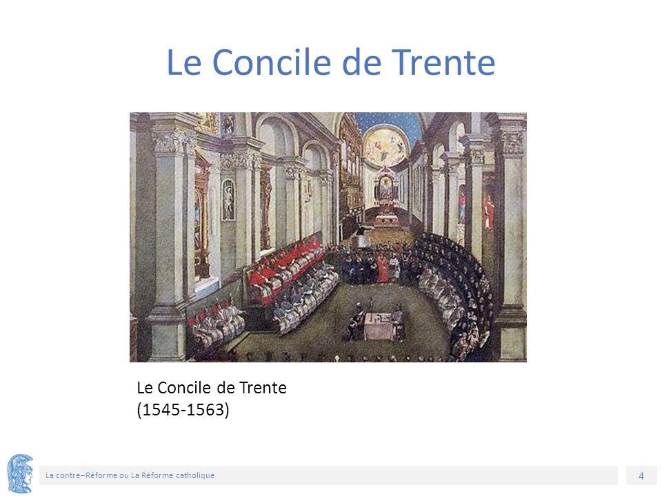 15 La contre–Réforme ou La Réforme catholique Efforts de maintenir la paix religieuse Le Colloque de Poissy (1561) La Paix de Saint-Germain (1570) accorde des libertés restreintes aux protestants