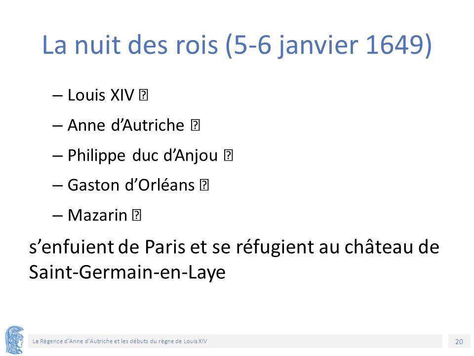 20 La Régence d'Anne d'Autriche et les débuts du règne de Louis XIV La nuit des rois (5-6 janvier 1649) – Louis XIV – Anne d'Autriche – Philippe duc d