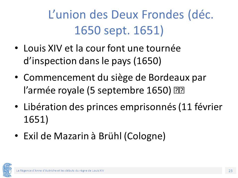 23 La Régence d'Anne d'Autriche et les débuts du règne de Louis XIV L'union des Deux Frondes (déc. 1650 sept. 1651) Louis XIV et la cour font une tour