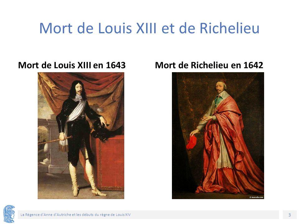 3 La Régence d'Anne d'Autriche et les débuts du règne de Louis XIV Mort de Louis XIII et de Richelieu Mort de Louis XIII en 1643Mort de Richelieu en 1642