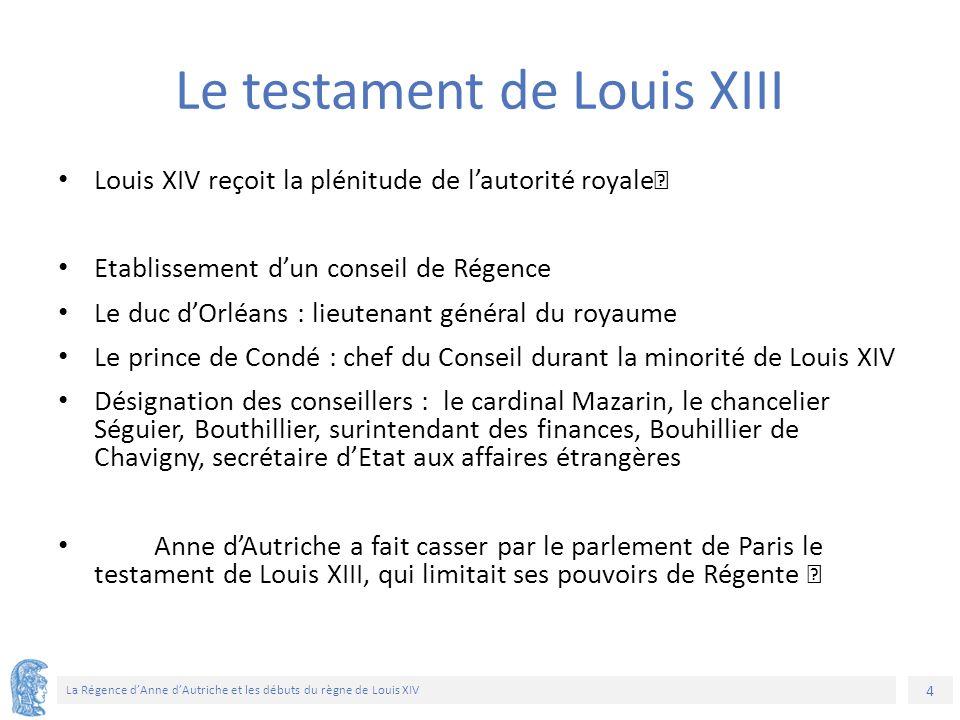 4 La Régence d'Anne d'Autriche et les débuts du règne de Louis XIV Louis XIV reçoit la plénitude de l'autorité royale Etablissement d'un conseil de Ré