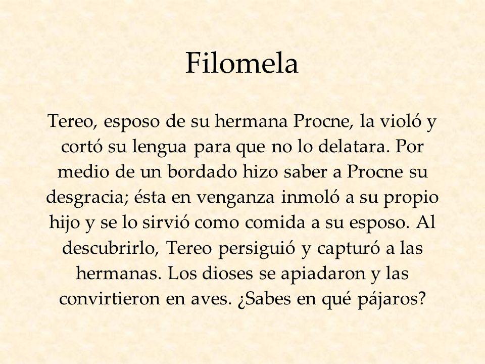 Filomela Tereo, esposo de su hermana Procne, la violó y cortó su lengua para que no lo delatara.