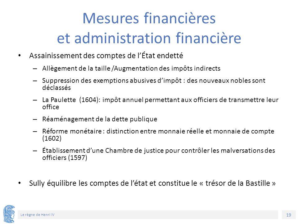 19 Le règne de Henri IV Mesures financières et administration financière Assainissement des comptes de l'État endetté – Allègement de la taille /Augme