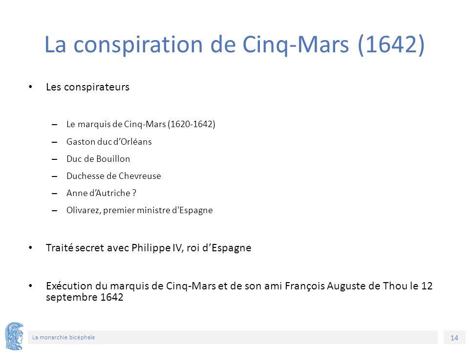 14 La monarchie bicéphale La conspiration de Cinq-Mars (1642) Les conspirateurs – Le marquis de Cinq-Mars (1620-1642) – Gaston duc d'Orléans – Duc de Bouillon – Duchesse de Chevreuse – Anne d'Autriche .