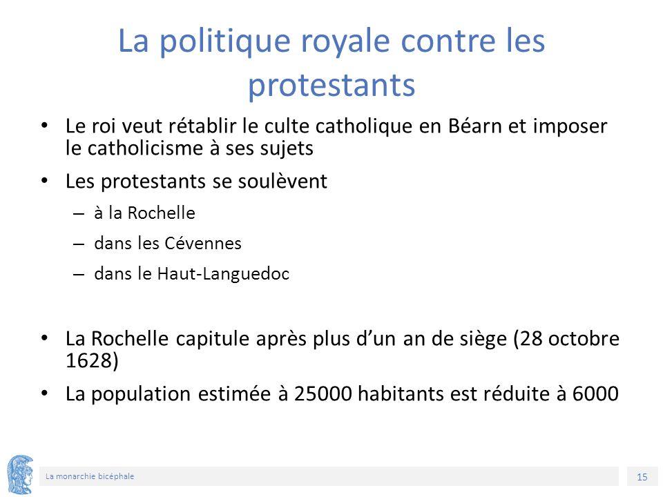 15 La monarchie bicéphale La politique royale contre les protestants Le roi veut rétablir le culte catholique en Béarn et imposer le catholicisme à ses sujets Les protestants se soulèvent – à la Rochelle – dans les Cévennes – dans le Haut-Languedoc La Rochelle capitule après plus d'un an de siège (28 octobre 1628) La population estimée à 25000 habitants est réduite à 6000