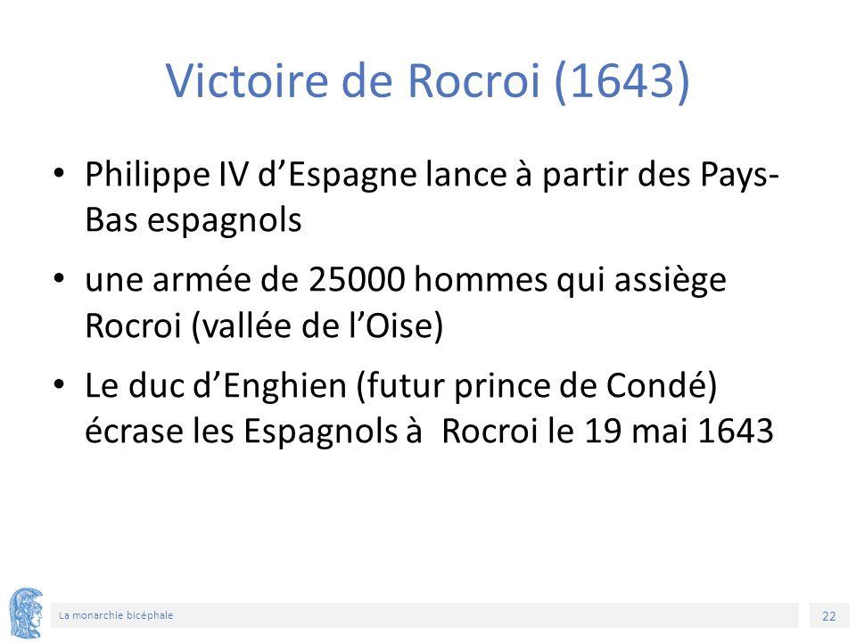 22 La monarchie bicéphale Victoire de Rocroi (1643) Philippe IV d'Espagne lance à partir des Pays- Bas espagnols une armée de 25000 hommes qui assiège Rocroi (vallée de l'Oise) Le duc d'Enghien (futur prince de Condé) écrase les Espagnols à Rocroi le 19 mai 1643
