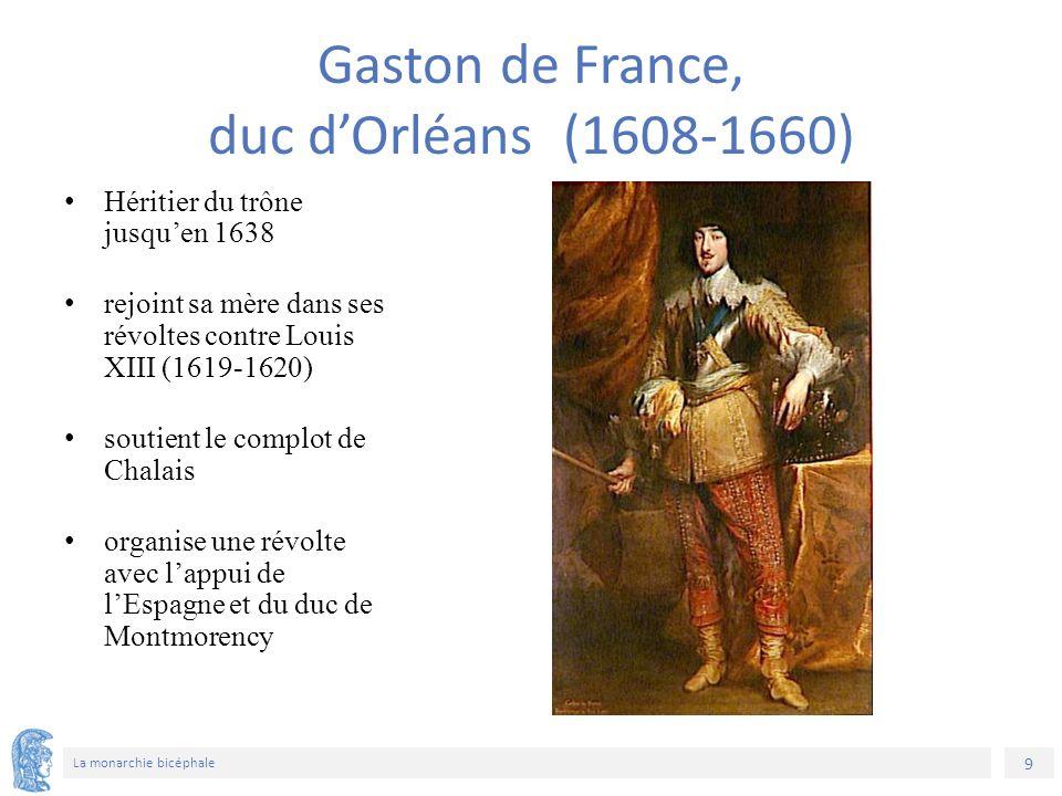 9 La monarchie bicéphale Héritier du trône jusqu'en 1638 rejoint sa mère dans ses révoltes contre Louis XIII (1619-1620) soutient le complot de Chalais organise une révolte avec l'appui de l'Espagne et du duc de Montmorency Gaston de France, duc d'Orléans (1608-1660)
