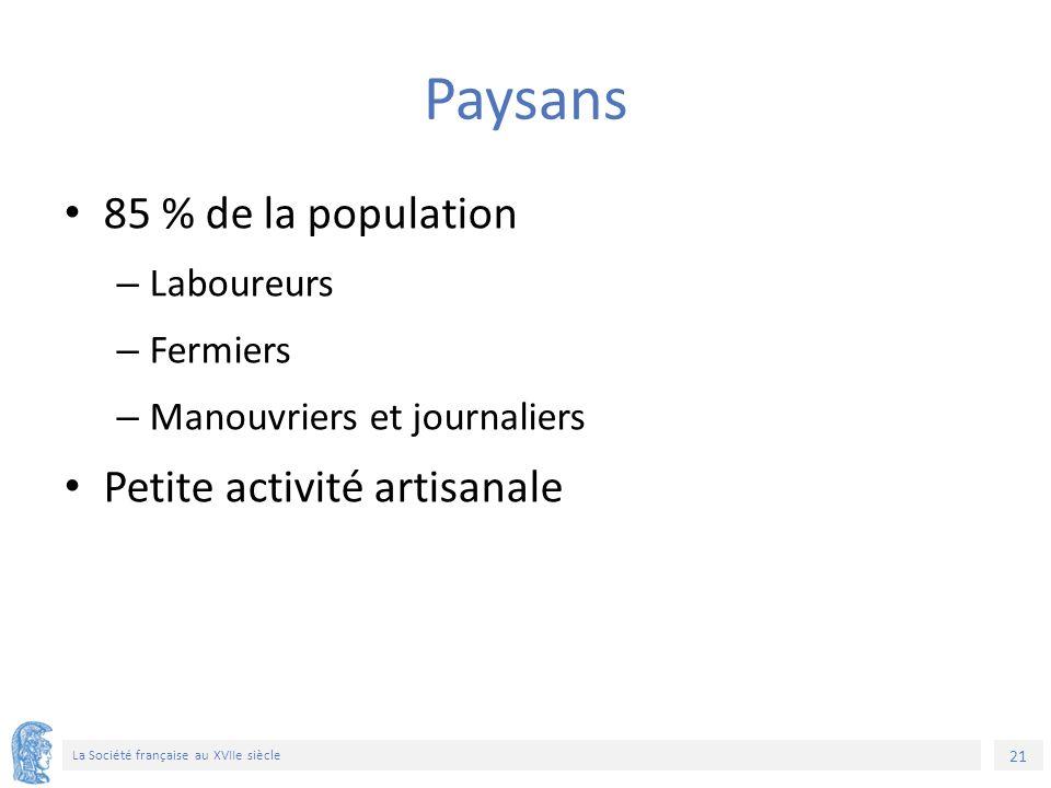 21 La Société française au XVIIe siècle Paysans 85 % de la population – Laboureurs – Fermiers – Manouvriers et journaliers Petite activité artisanale