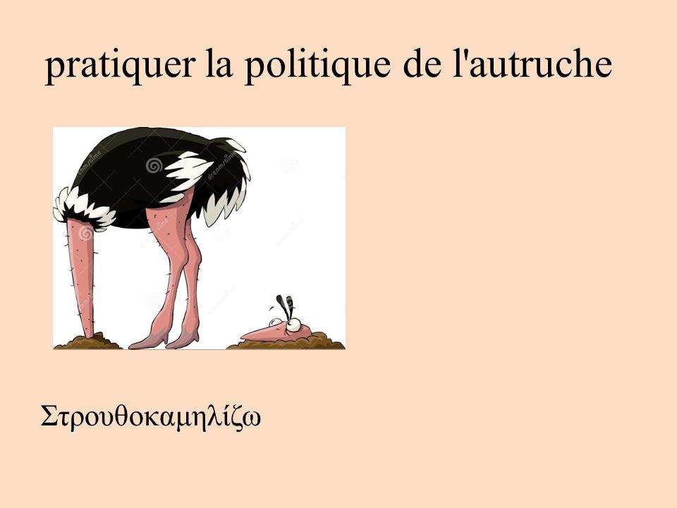 pratiquer la politique de l'autruche Στρουθοκαμηλίζω