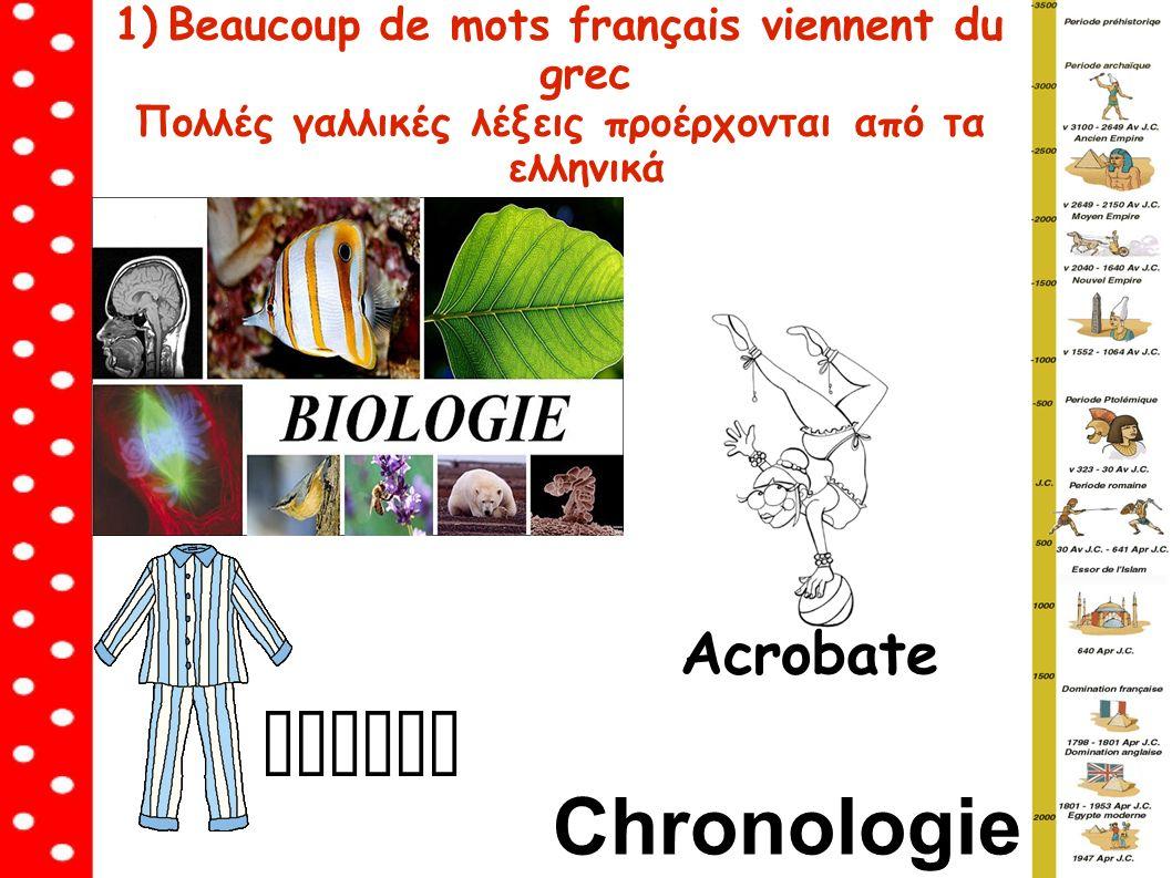 1)Beaucoup de mots français viennent du grec Πολλές γαλλικές λέξεις προέρχονται από τα ελληνικά Pyjama Acrobate Chronologie