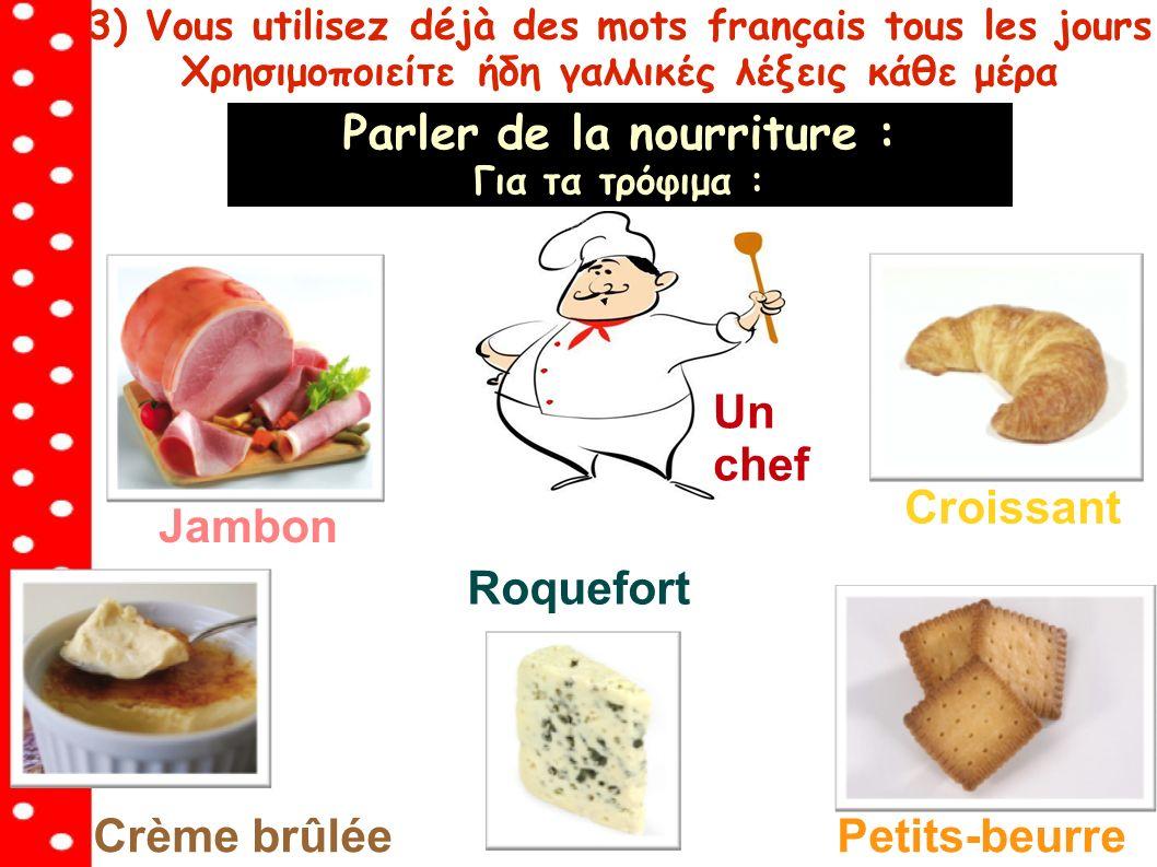 3) Vous utilisez déjà des mots français tous les jours Χρησιμοποιείτε ήδη γαλλικές λέξεις κάθε μέρα Parler de la nourriture : Για τα τρόφιμα : Croissant Roquefort Crème brûléePetits-beurre Jambon Un chef