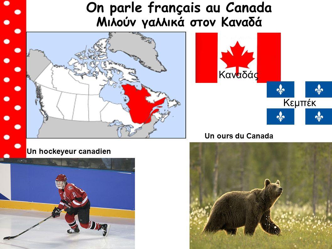 On parle français au Canada Μιλούν γαλλικά στον Καναδά Καναδάς Un ours du Canada Κεμπέκ Un hockeyeur canadien