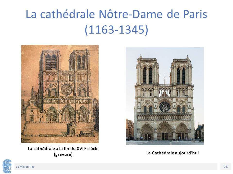 24 Le Moyen Âge La cathédrale Nôtre-Dame de Paris (1163-1345) La cathédrale à la fin du XVII e siècle (gravure) La Cathédrale aujourd'hui 76