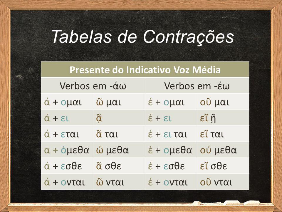 Tabelas de Contrações Presente do Indicativo Voz Média Verbos em -άωVerbos em -έω ά + ομαιῶ μαιέ + ομαιοῦ μαι ά + ειᾷέ + ειεῖ ῇ ά + εταιᾶ ταιέ + ει τα