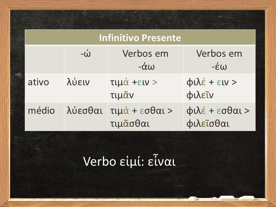 Infinitivo Presente -ώ-ώVerbos em -άω Verbos em -έω ativoλύειντιμά +ειν > τιμᾶν φιλέ + ειν > φιλεῖν médioλύεσθαιτιμά + εσθαι > τιμᾶσθαι φιλέ + εσθαι >