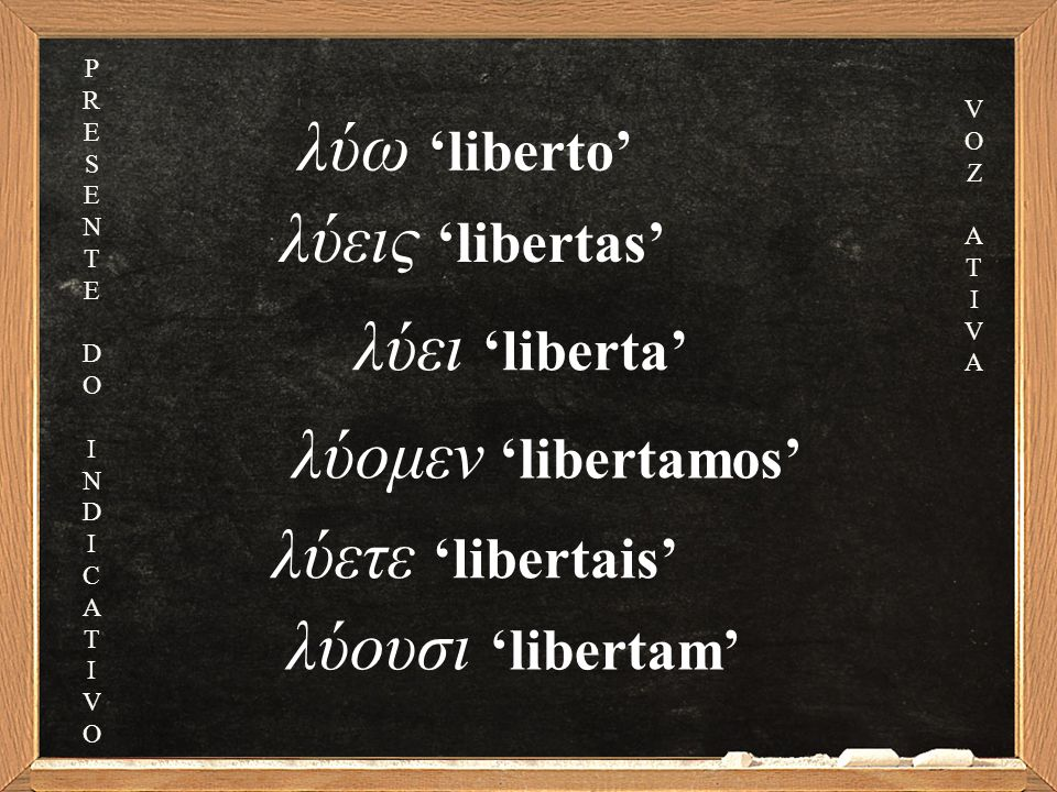 λύεις 'libertas' λύει 'liberta' λύομεν 'libertamos' λύετε 'libertais' λύουσι 'libertam' λύω 'liberto' PRESENTEDOINDICATIVOPRESENTEDOINDICATIVO VOZATIVAVOZATIVA
