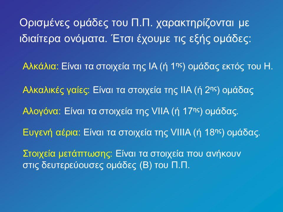 Τα άτομα των χημικών στοιχείων που ανήκουν στην ίδια κύρια ομάδα (Α) έχουν τον ίδιο αριθμό ηλεκτρονίων στην εξωτερική τους στιβάδα, ο οποίος συμπίπτει με τον αύξοντα αριθμό της κύριας ομάδας (Α).