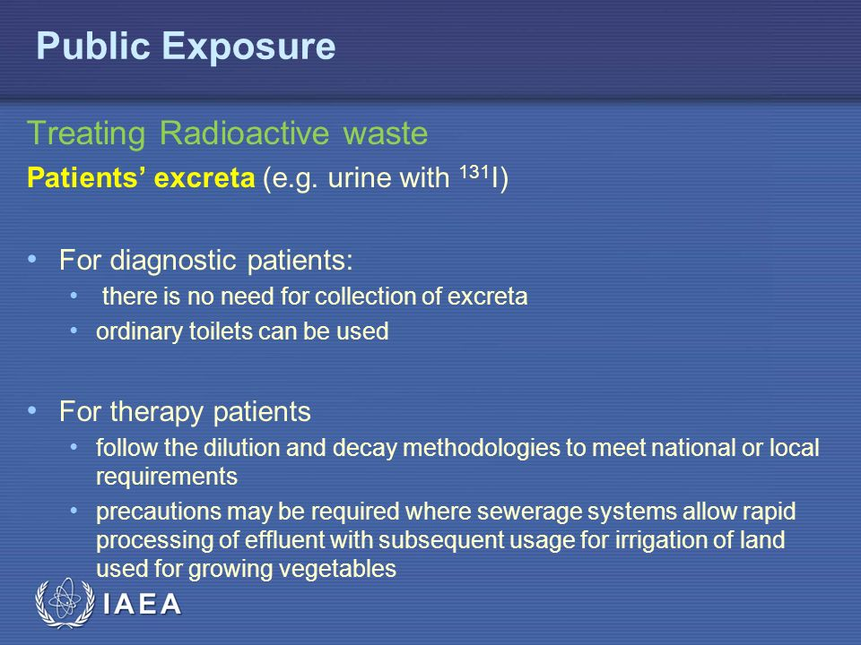 IAEA Treating Radioactive waste Patients' excreta (e.g.