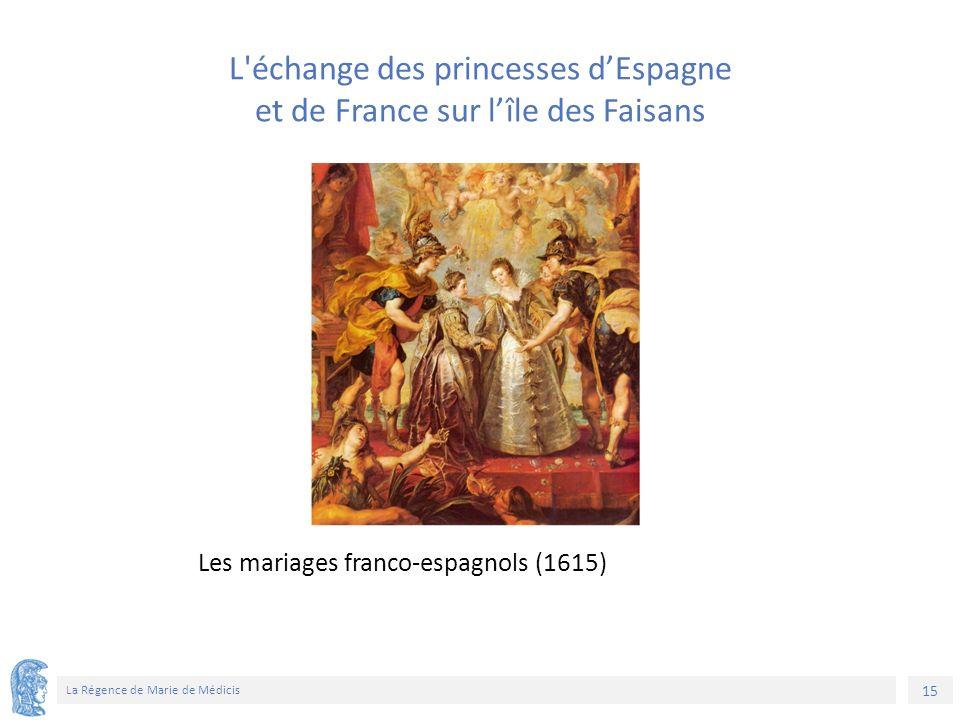 15 La Régence de Marie de Médicis Les mariages franco-espagnols (1615) L échange des princesses d'Espagne et de France sur l'île des Faisans