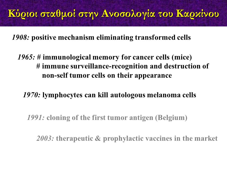 1965: # immunological memory for cancer cells (mice) # immune surveillance-recognition and destruction of non-self tumor cells on their appearance 190