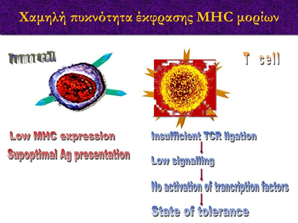 Χαμηλή πυκνότητα έκφρασης MHC μορίων