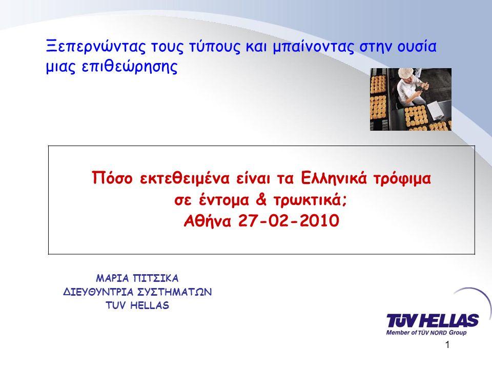 1 ΜΑΡΙΑ ΠΙΤΣΙΚΑ ΔΙΕΥΘΥΝΤΡΙΑ ΣΥΣΤΗΜΑΤΩΝ TUV HELLAS Ξεπερνώντας τους τύπους και μπαίνοντας στην ουσία μιας επιθεώρησης Πόσο εκτεθειμένα είναι τα Ελληνικά τρόφιμα σε έντομα & τρωκτικά; Αθήνα 27-02-2010