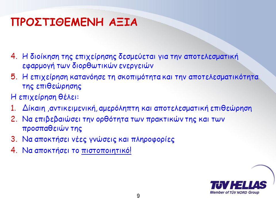 9 ΠΡΟΣΤΙΘΕΜΕΝΗ ΑΞΙΑ 4.Η διοίκηση της επιχείρησης δεσμεύεται για την αποτελεσματική εφαρμογή των διορθωτικών ενεργειών 5.Η επιχείρηση κατανόησε τη σκοπιμότητα και την αποτελεσματικότητα της επιθεώρησης Η επιχείρηση θέλει: 1.Δίκαιη,αντικειμενική, αμερόληπτη και αποτελεσματική επιθεώρηση 2.Να επιβεβαιώσει την ορθότητα των πρακτικών της και των προσπαθειών της 3.Να αποκτήσει νέες γνώσεις και πληροφορίες 4.Να αποκτήσει το πιστοποιητικό!