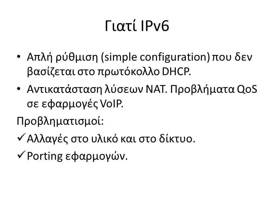 Γιατί IPv6 Απλή ρύθμιση (simple configuration) που δεν βασίζεται στο πρωτόκολλο DHCP. Αντικατάσταση λύσεων NAT. Προβλήματα QoS σε εφαρμογές VoIP. Προβ