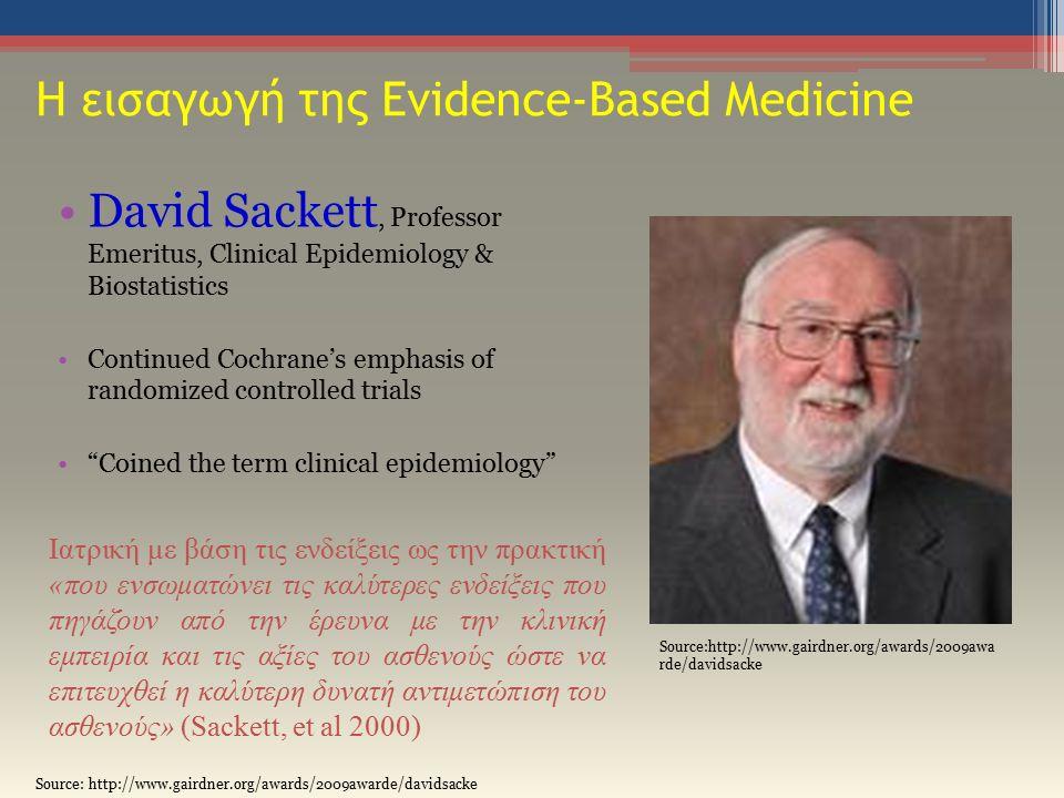 Η εισαγωγή της Evidence-Based Medicine David Sackett, Professor Emeritus, Clinical Epidemiology & Biostatistics Continued Cochrane's emphasis of randomized controlled trials Coined the term clinical epidemiology Source:http://www.gairdner.org/awards/2009awa rde/davidsacke Iατρική με βάση τις ενδείξεις ως την πρακτική «που ενσωματώνει τις καλύτερες ενδείξεις που πηγάζουν από την έρευνα με την κλινική εμπειρία και τις αξίες του ασθενούς ώστε να επιτευχθεί η καλύτερη δυνατή αντιμετώπιση του ασθενούς» (Sackett, et al 2000)