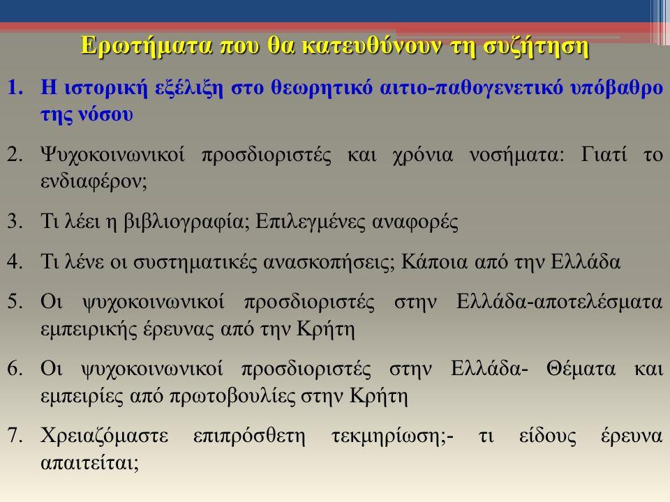 Ερωτήματα που θα κατευθύνουν τη συζήτηση 1.Η ιστορική εξέλιξη στο θεωρητικό αιτιο-παθογενετικό υπόβαθρο της νόσου 2.Ψυχοκοινωνικοί προσδιοριστές και χρόνια νοσήματα: Γιατί το ενδιαφέρον; 3.Τι λέει η βιβλιογραφία; Επιλεγμένες αναφορές 4.Τι λένε οι συστηματικές ανασκοπήσεις; Κάποια από την Ελλάδα 5.Οι ψυχοκοινωνικοί προσδιοριστές στην Ελλάδα-αποτελέσματα εμπειρικής έρευνας από την Κρήτη 6.Οι ψυχοκοινωνικοί προσδιοριστές στην Ελλάδα- Θέματα και εμπειρίες από πρωτοβουλίες στην Κρήτη 7.Χρειαζόμαστε επιπρόσθετη τεκμηρίωση;- τι είδους έρευνα απαιτείται;