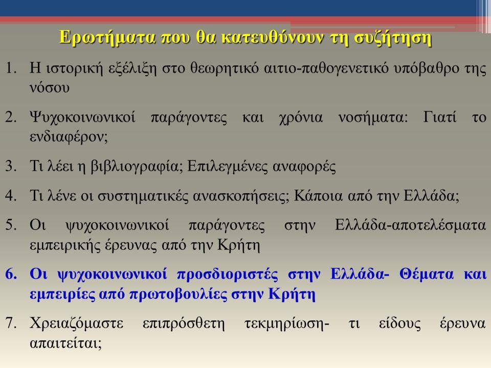 Ερωτήματα που θα κατευθύνουν τη συζήτηση 1.Η ιστορική εξέλιξη στο θεωρητικό αιτιο-παθογενετικό υπόβαθρο της νόσου 2.Ψυχοκοινωνικοί παράγοντες και χρόνια νοσήματα: Γιατί το ενδιαφέρον; 3.Τι λέει η βιβλιογραφία; Επιλεγμένες αναφορές 4.Τι λένε οι συστηματικές ανασκοπήσεις; Κάποια από την Ελλάδα; 5.Οι ψυχοκοινωνικοί παράγοντες στην Ελλάδα-αποτελέσματα εμπειρικής έρευνας από την Κρήτη 6.Οι ψυχοκοινωνικοί προσδιοριστές στην Ελλάδα- Θέματα και εμπειρίες από πρωτοβουλίες στην Κρήτη 7.Χρειαζόμαστε επιπρόσθετη τεκμηρίωση- τι είδους έρευνα απαιτείται;