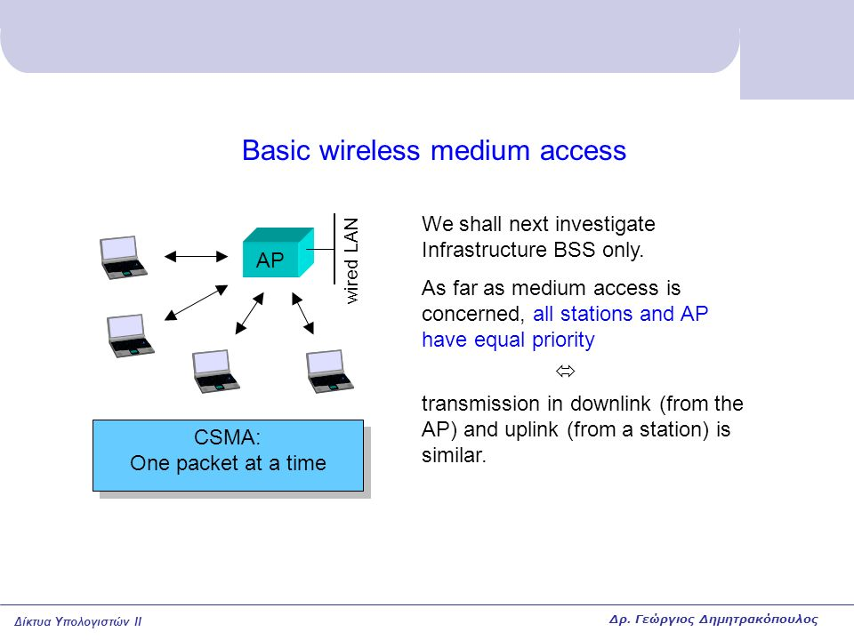 Δίκτυα Υπολογιστών II Basic wireless medium access AP We shall next investigate Infrastructure BSS only. As far as medium access is concerned, all sta