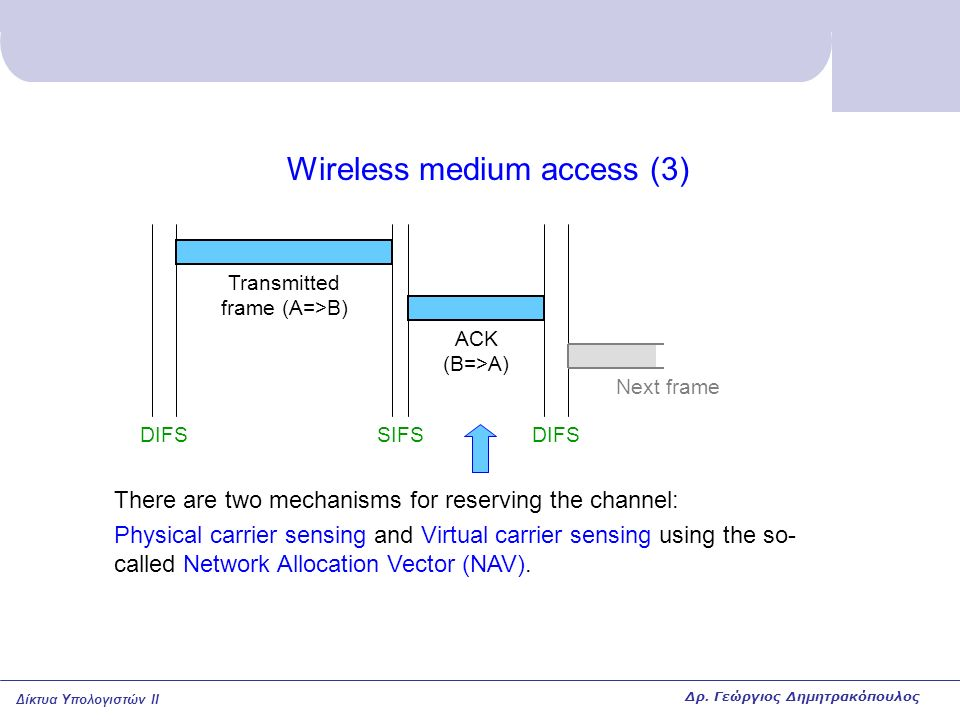 Δίκτυα Υπολογιστών II Wireless medium access (3) DIFSSIFSDIFS ACK (B=>A) Transmitted frame (A=>B) There are two mechanisms for reserving the channel: Physical carrier sensing and Virtual carrier sensing using the so- called Network Allocation Vector (NAV).