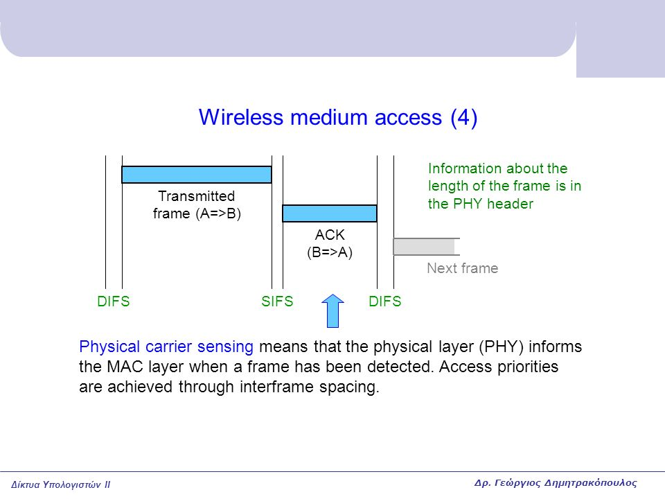 Δίκτυα Υπολογιστών II Wireless medium access (4) DIFSSIFSDIFS ACK (B=>A) Transmitted frame (A=>B) Physical carrier sensing means that the physical layer (PHY) informs the MAC layer when a frame has been detected.