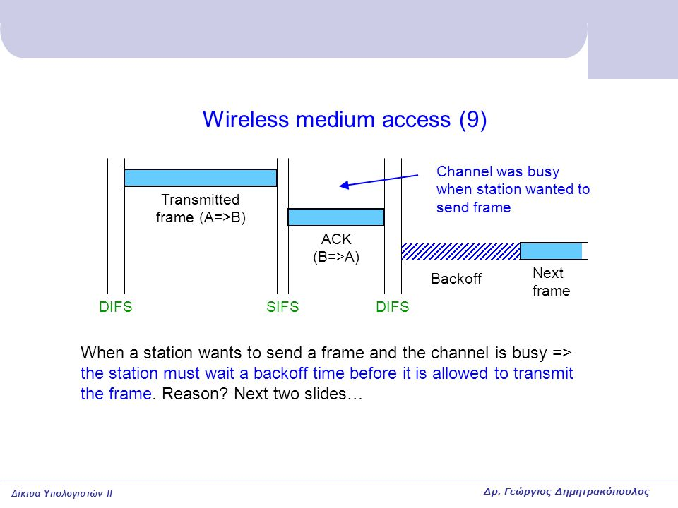 Δίκτυα Υπολογιστών II Wireless medium access (9) DIFSSIFSDIFS ACK (B=>A) Transmitted frame (A=>B) When a station wants to send a frame and the channel is busy => the station must wait a backoff time before it is allowed to transmit the frame.