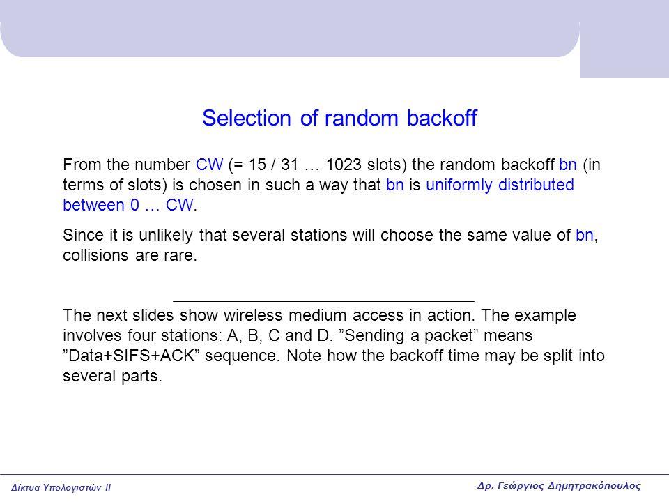 Δίκτυα Υπολογιστών II Selection of random backoff From the number CW (= 15 / 31 … 1023 slots) the random backoff bn (in terms of slots) is chosen in s