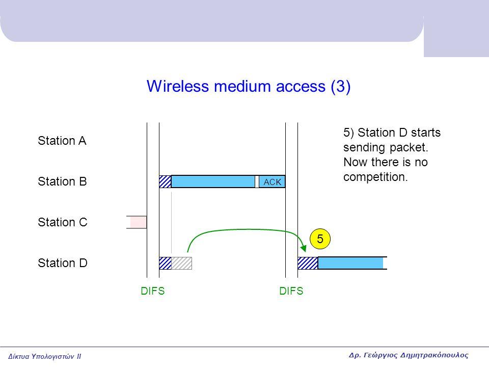 Δίκτυα Υπολογιστών II Wireless medium access (3) Station A Station B Station C Station D DIFS 5) Station D starts sending packet. Now there is no comp