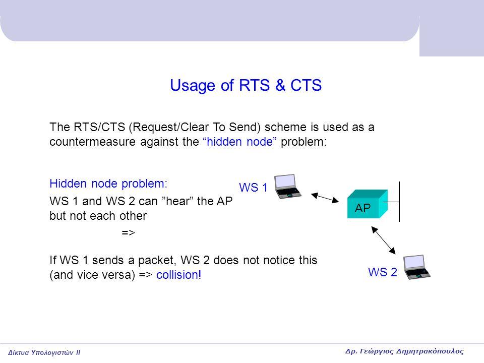 """Δίκτυα Υπολογιστών II Usage of RTS & CTS The RTS/CTS (Request/Clear To Send) scheme is used as a countermeasure against the """"hidden node"""" problem: AP"""