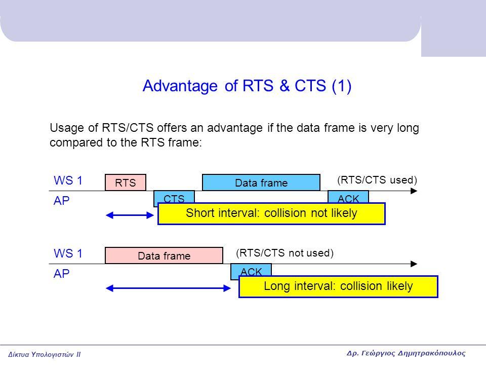 Δίκτυα Υπολογιστών II Advantage of RTS & CTS (1) Usage of RTS/CTS offers an advantage if the data frame is very long compared to the RTS frame: RTS CT
