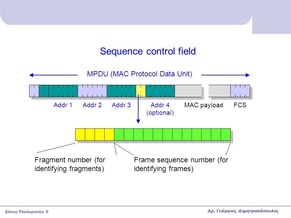 Δίκτυα Υπολογιστών II Sequence control field MPDU (MAC Protocol Data Unit) MAC payloadAddr 1Addr 2Addr 3Addr 4 (optional) FCS Fragment number (for ide
