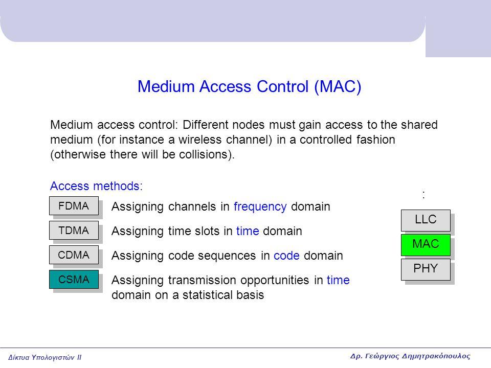 Δίκτυα Υπολογιστών II Medium Access Control (MAC) LLC MAC PHY : Medium access control: Different nodes must gain access to the shared medium (for inst
