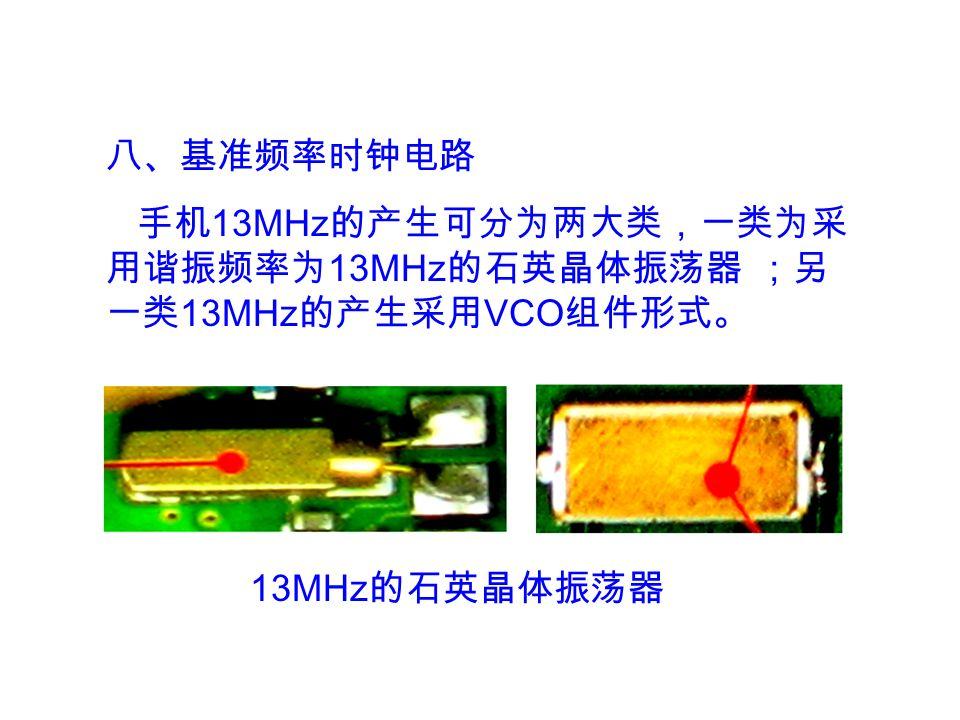 八、基准频率时钟电路 手机 13MHz 的产生可分为两大类,一类为采 用谐振频率为 13MHz 的石英晶体振荡器 ;另 一类 13MHz 的产生采用 VCO 组件形式。 13MHz 的石英晶体振荡器