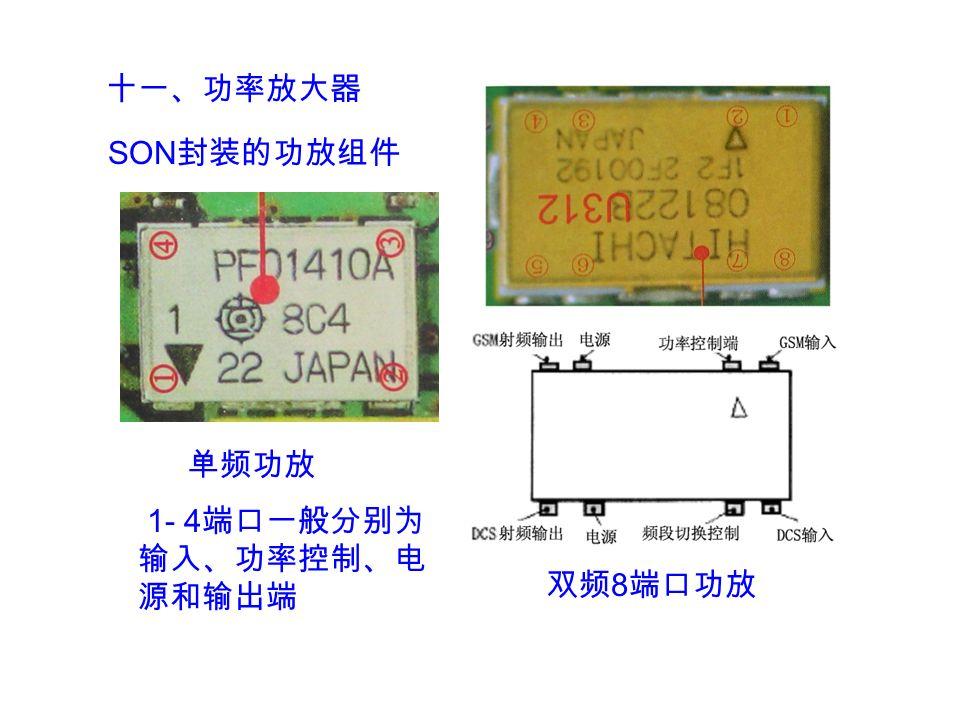 十一、功率放大器 SON 封装的功放组件 1- 4 端口一般分别为 输入、功率控制、电 源和输出端 单频功放 双频 8 端口功放