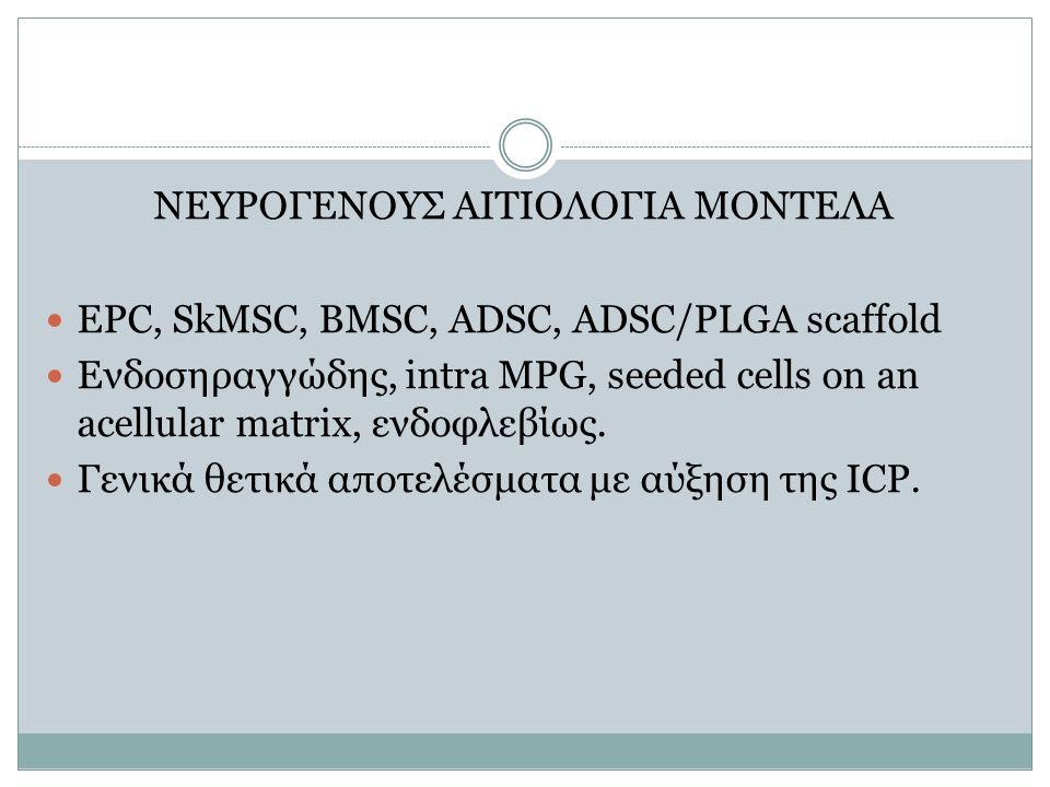 ΝΕΥΡΟΓΕΝΟΥΣ ΑΙΤΙΟΛΟΓΙΑ ΜΟΝΤΕΛΑ EPC, SkMSC, BMSC, ADSC, ADSC/PLGA scaffold Ενδοσηραγγώδης, intra MPG, seeded cells on an acellular matrix, ενδοφλεβίως.