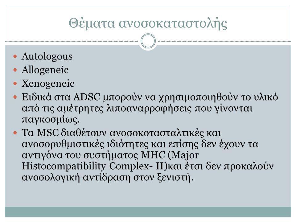 Θέματα ανοσοκαταστολής Autologοus Allogeneic Xenogeneic Ειδικά στα ADSC μπορούν να χρησιμοποιηθούν το υλικό από τις αμέτρητες λιποαναρροφήσεις που γίν