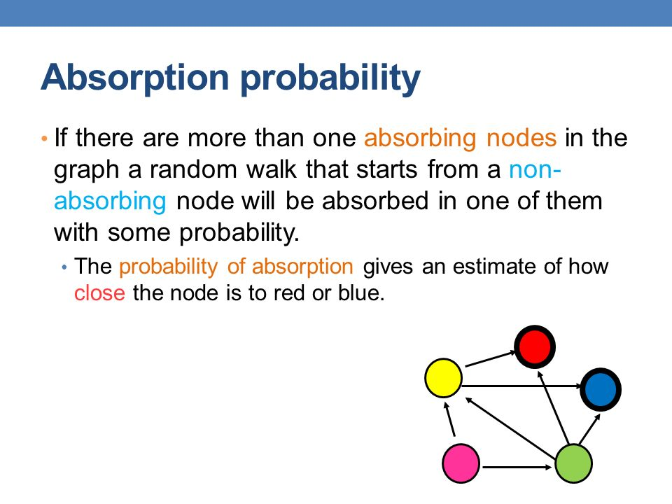 Absorption probability If there are more than one absorbing nodes in the graph a random walk that starts from a non- absorbing node will be absorbed in one of them with some probability.